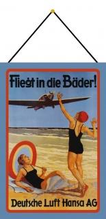 Blechschild Nostalgie Deutsche Lufthansa Metallschild Wanddeko 20x30 mit Kordel