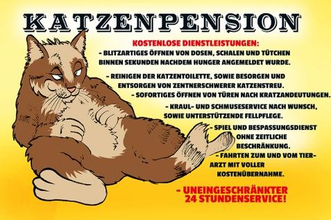 """ Katzenpension"" blechschild, lustig, comic, metallschild"