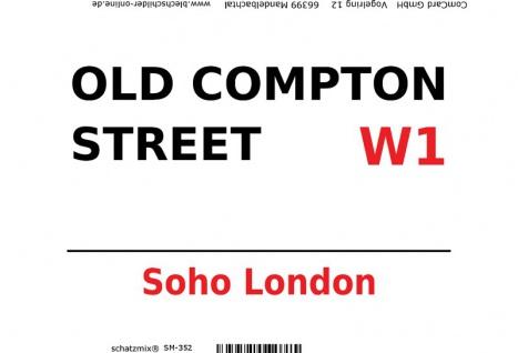 London Street Sign blechschild Old Compton Street Soho W1 - white