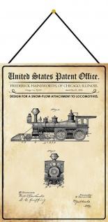 Blechschild Patent Entwurf für einen Schneepflug Metallschild 20 x 30 m.Kordel