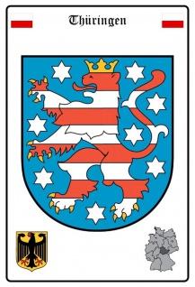 Blechschild Thüringen Wappen Metallschild Wanddeko 20x30 cm tin sign