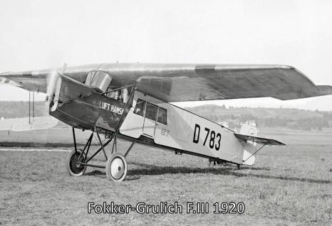 Retro: Flugzeug Fokker-Grulich F.III 1920 Metallschild 20x30 Deko tin sign