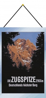 Blechschild Zugspitze 2966m Deutschlands Höchster Berg Deko 20x30 mit Kordel