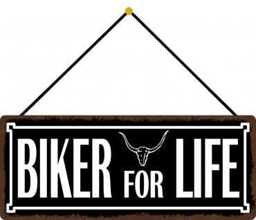 Schatzmix Blechschild Spruch Biker for life Metallschild 27x10 Deko tin sign mit Kordel