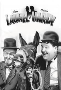 Blechschild Laurel & Hardy (Dick & Doof mit Esel) Metallschild Wanddeko 20x30 cm tin sign