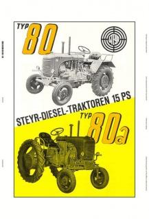 Steyr 80 & 80a 15 PS diesel traktor Trekker Schlepper blechschild