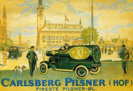 Carlsberg Pilsner Hof flaschen auto alkohol beer bier blechschild