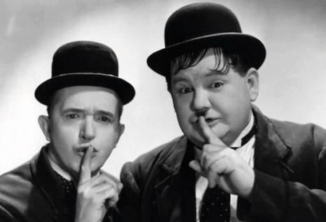 Blechschild Laurel & Hardy (Dick & Doof) sssshhhh Metallschild Wanddeko 20x30 cm tin sign