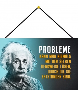 Blechschild A. Einstein Probleme kann man niemals Metallschild 20x30 m. Kordel
