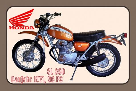 Honda SL 350 1971 36PS motorrad, motor bike, motorcycle blechschild