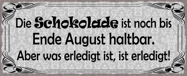 Blechschild Spruch Die Schokolade ist noch bis Ende August haltbar Metallschild Wanddeko 27x10 cm tin sign