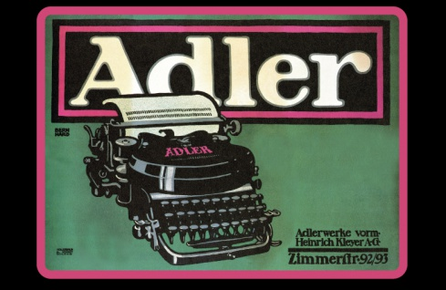 Adlerwerke schreibmachine reklame blechschild