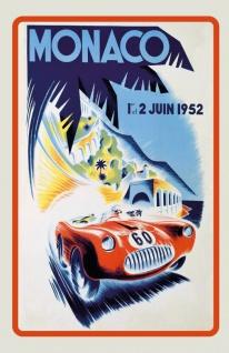 Nostalgie: Grand Prix Monaco 1952 Blechschild 20x30 cm