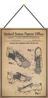 Blechschild Patent Entwurf für Trainingsschuhe für Fußballer Deko 20 x 30 Kordel
