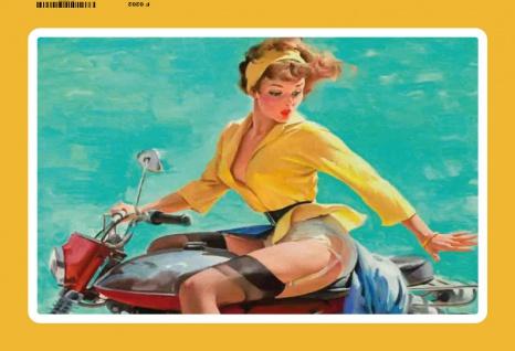 Pinup Pin Up strapsmaus auf motorrad blechschild