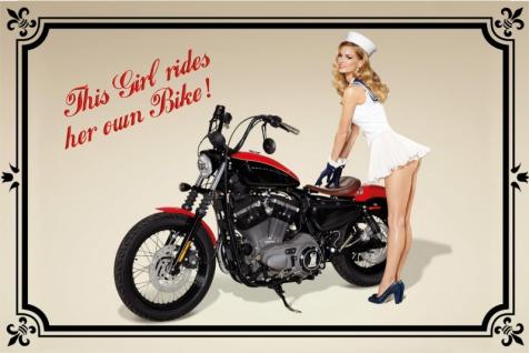 """ This girl rides her own bike"" blechschild, motorrad, pin-up, frau mit motorrad, retro"