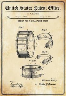 Blechschild Patent Entwurf Drum- Barry Metallschild Wanddeko 20x30 cm tin sign