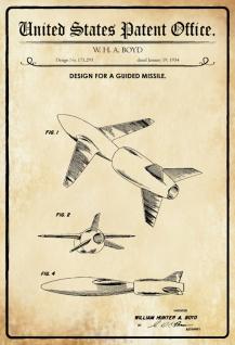 Blechschild Patent Entwurf Lenkflugkörper/ Boyd Metallschild Wanddeko 20x30 cm tin sign