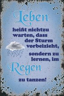 Schatzmix Blechschild Spruch Leben heisst nicht zu warten blaues Metallschild 20x30 cm Wanddeko tin sign