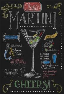 Cocktails Rezepte recipe Martini Vodka Vermouth alkohol schwarz hintergrund blechschild