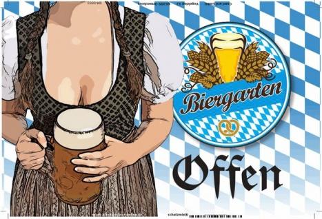 Biergarten Geöffnet, oktoberfest, bayern, Frau mit bier, blechschild