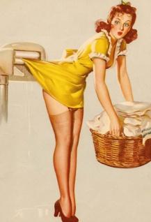 Nostalgie Pin up sexy Frau mit Wäschekorb Blechschild 20x30cm