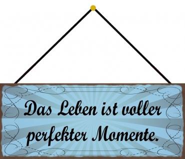 Schatzmix Blechschild Spruch Das Leben ist voller perfekter Momente Deko 27x10 mit Kordel