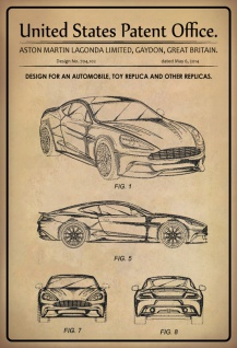 Blechschild Patent Entwurf Kraftfahrzeug Aston Martin Metallschild Wanddeko 20x30 Cm Tin Sign Kaufen Bei Comcard Gmbh