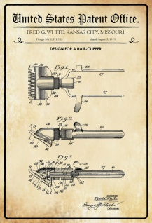 US Patent Office - Design for A Hair Clipper - Entwurf für ein Haarschneider - White, Missouri, 1919 - Design No 1.311.935 - Blechschild