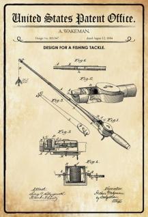 US Patent Office - Design for a Fishing Tackle - Entwurf für Angelzubehör - Wakeman, 1884 - Design No 303.347 - Blechschild