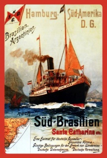 Retro: Hamburg - Süd Amerika (Dampfschiff) Metallschild Wanddeko 20x30 cm tin sign
