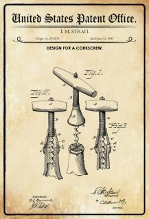 US Patent Office - Design for a Corkscrew - Entwurf für eine Korkenzieher - Strait, 1883 - Design No 279.203 - Blechschild