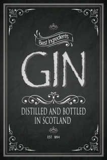 Schatzmix Blechschild Gin distilled and bottled in Scotland 1894 Metallschild 20x30 cm Wanddeko tin sign