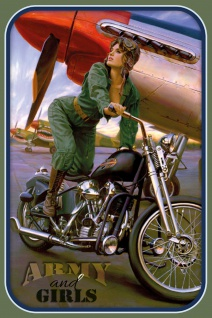 "Schatzmix Blechschild Pinup military girl Motorrad "" army and girls"" Metallschild 20x30 cm Wanddeko tin sign"