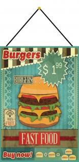 Blechschild Burgers Fast Food Metallschild Wanddeko 20x30 mit Kordel