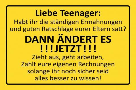 Blechschild Liebe Teenager:... Metallschild Wanddeko 20x30 cm tin sign