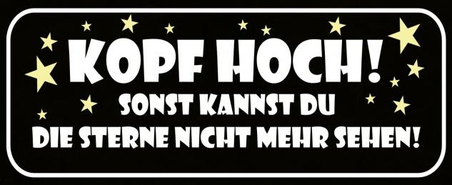 Blechschild Spruch Kopf hoch Metallschild Wanddeko 27x10 cm tin sign