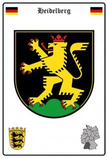 Blechschild Stadt Heidelberg Wappen Straßen Metallschild Wanddeko 20x30 cm tin sign