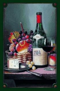 Stilleben: Rotwein mit Käse und Obstkorb Blechschild 20x30 cm