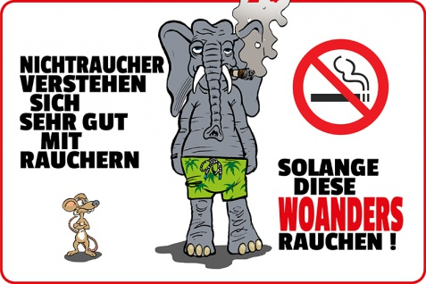Blechschild Nichtraucher, Raucher Metallschild Wanddeko 20x30 tin sign