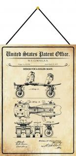 Blechschild Patent Entwurf für einen Rollschuh Metallschild 20 x 30 m.Kordel