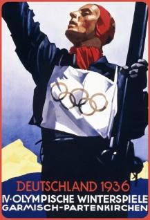 Blechschild Retro Olympische Winterspiele 1936 (Deutschland) Metallschild Wanddeko 20x30cm tin sign