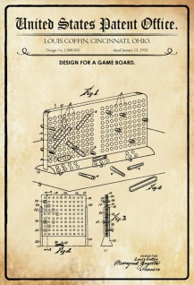 US Patent Office - Design for A Game Board - Entwurf für ein Brettspiel - Coffin, Ohio 1935 - Design No 1.988.301 - Blechschild