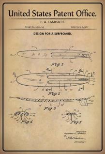 Blechschild Patent Entwurf für Surfbrett- Lambach Metallschild Wanddeko 20x30 cm tin sign