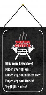 Blechschild Spruch Mein Grill meine Regeln schwarzes 20x30 Deko mit Kordel