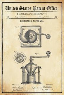 Blechschild Patent Entwurf für Kaffeemühle-Milligan Metallschild Wanddeko 20x30 cm tin sign