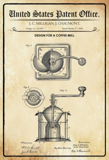US Patent Office - Design for a Coffee Mill - Entwurf für ein Kaffee Mühle - Milligan, Chaumont, 1885 - Design No 312.493 - Blechschild