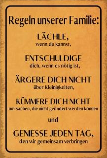 Blechschild Spruch Regeln unserer Familie... Metallschild 20x30 Deko tin sign