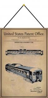 Blechschild Patent Entwurf für ein Eisenbahnwagon Metallschild 20 x 30 m.Kordel