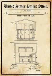 Blechschild Patent Entwurf für ein Bienenstock- Honig Metallschild Wanddeko 20x30 cm tin sign